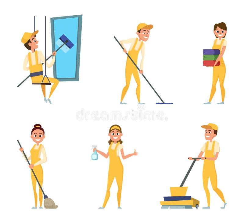 Lavoratori del gruppo di servizio di pulizia Insieme dei caratteri differenti in abbigliamento speciale illustrazione di stock