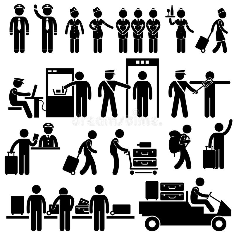 Lavoratori dell'aeroporto e pittogrammi di obbligazione illustrazione vettoriale