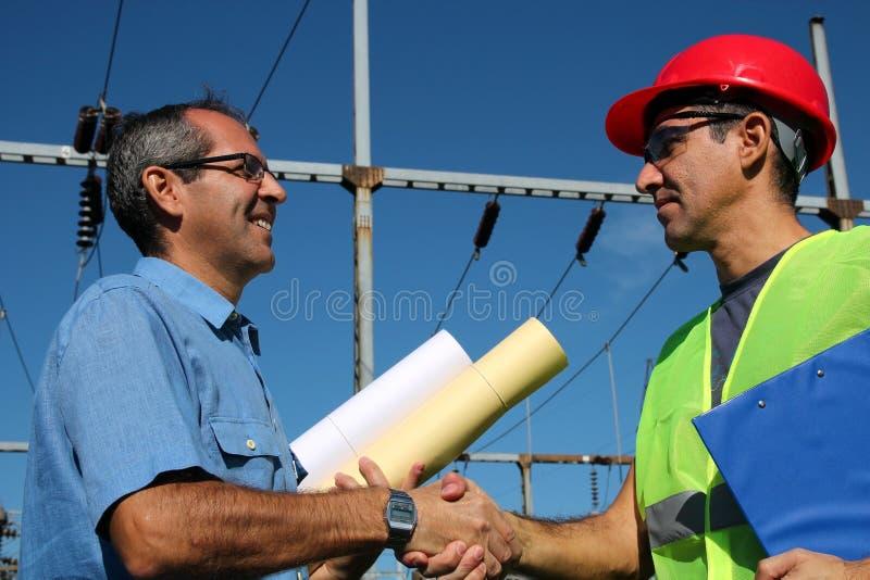 Lavoratori della compagnia elettrica fotografia stock libera da diritti