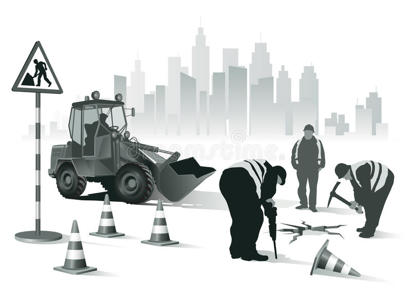 Lavoratori della strada illustrazione di stock