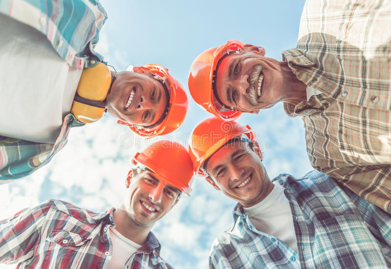 Lavoratori di industria dell'edilizia fotografie stock libere da diritti