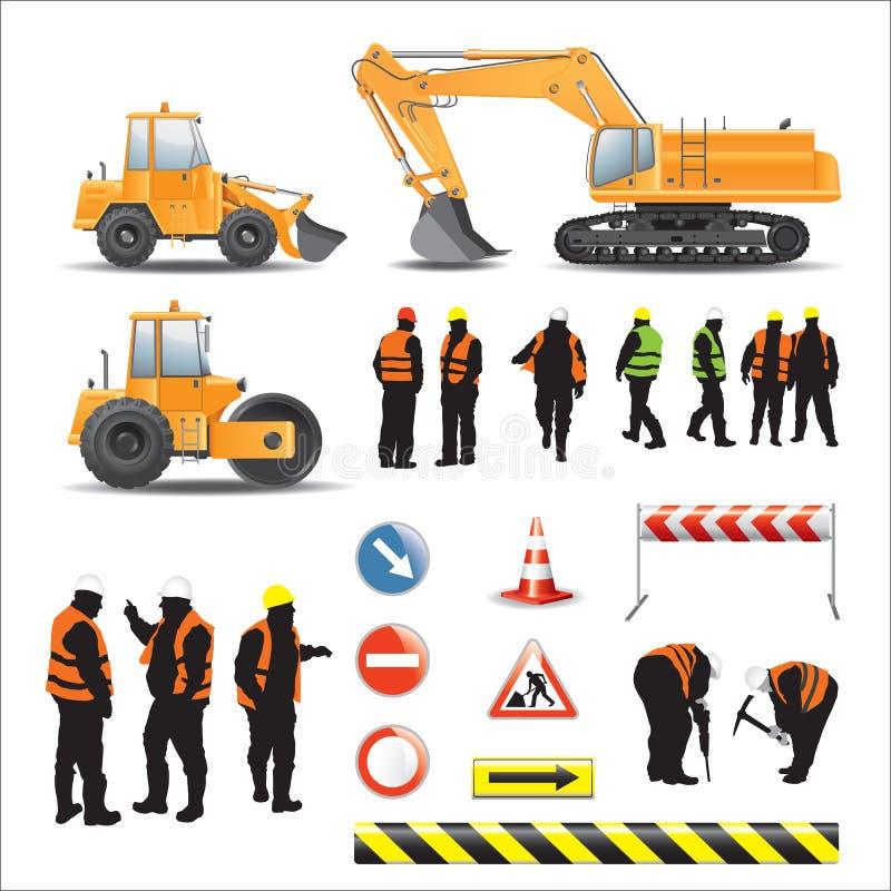 Lavoratori e macchine per la costruzione di strade illustrazione di stock