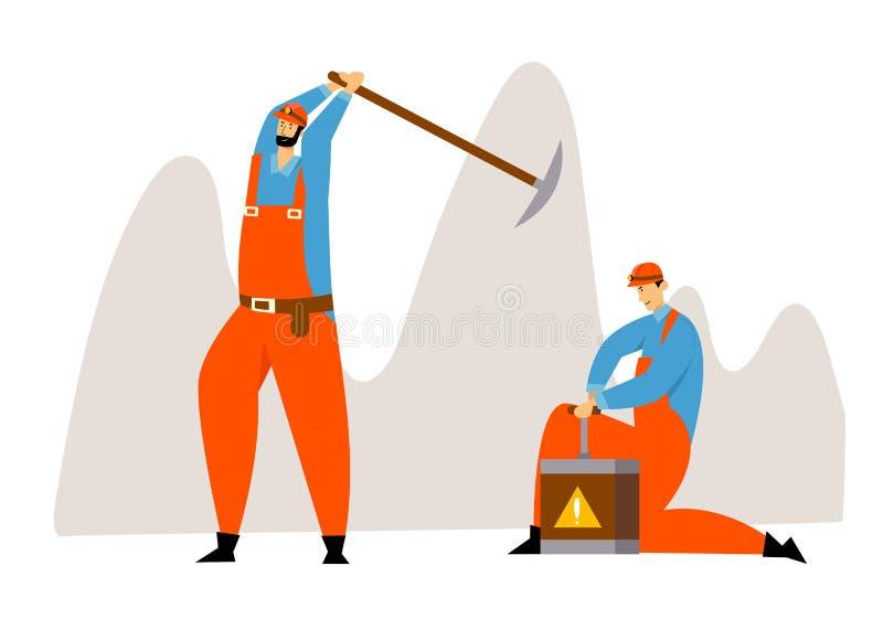 Lavoratori in in generale uniformi e caschi con il carbone di estrazione mineraria della dinamite e del piccone o i minerali, car illustrazione vettoriale