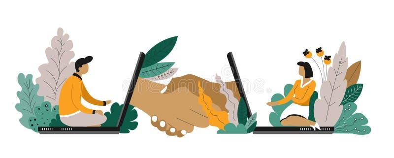Lavoratori indipendenti e distanti di comunicazione all'intervista online del computer portatile illustrazione di stock