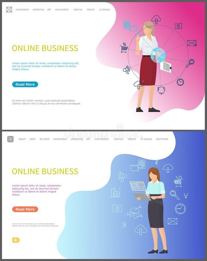 Lavoratori online di affari con i computer portatili ed i dispositivi royalty illustrazione gratis