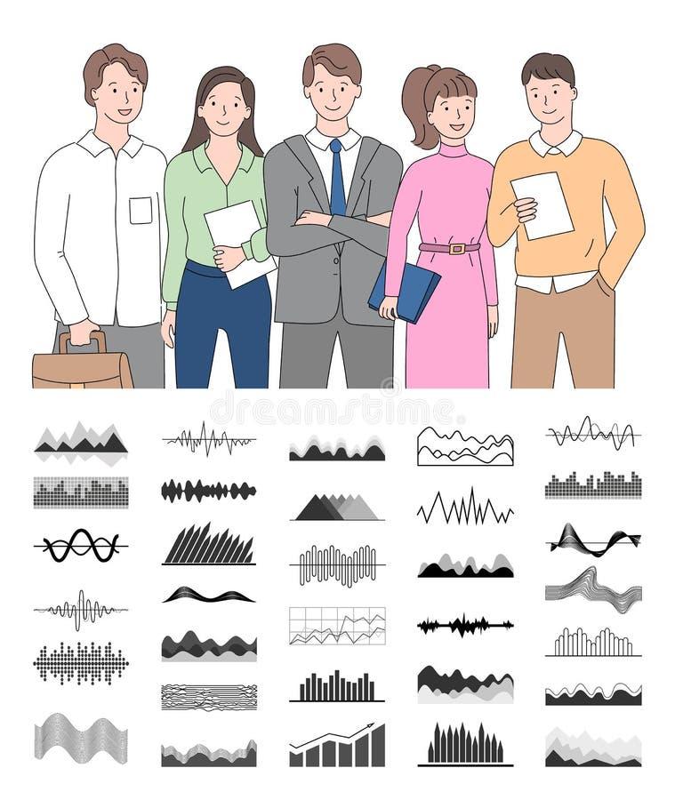 Lavoratori sorridenti che tengono i documenti, vettore del grafico royalty illustrazione gratis