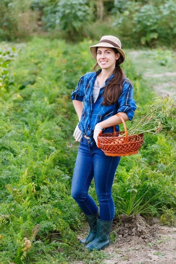 Lavoratrice agricola con la merce nel carrello delle carote immagine stock libera da diritti