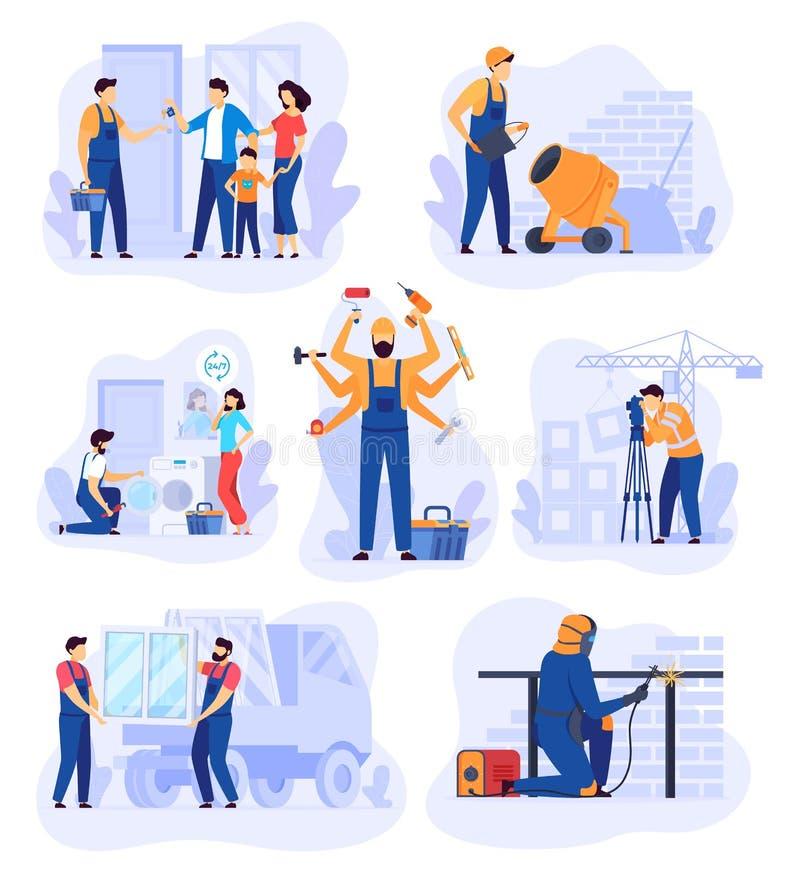 Lavori di ristrutturazione a domicilio, illustrazione vettoriale del servizio man riparazione Carattere vignettista di Handyman,  royalty illustrazione gratis