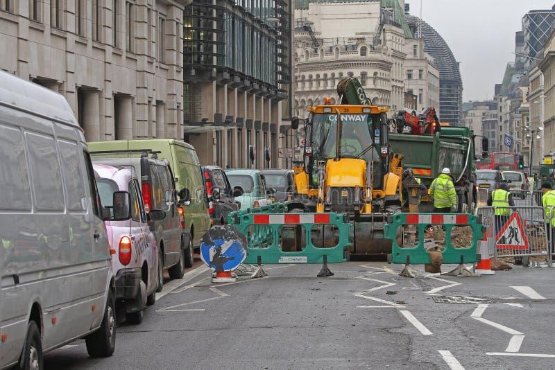 Lavori stradali Londra fotografia stock