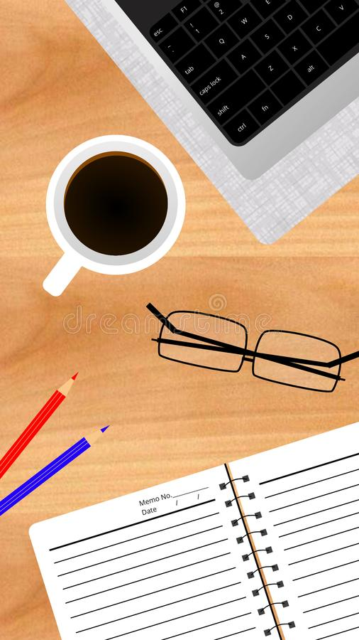 Lavoro alla carta da parati di tempo del caffè fotografia stock libera da diritti
