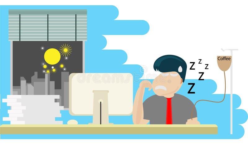 Lavoro collocante dell'uomo allo scrittorio del computer con il termine illustrazione di stock