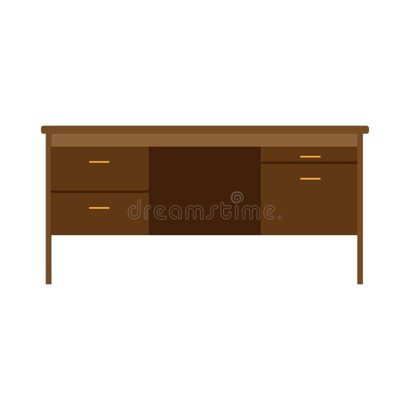 Lavoro del computer della tavola della scrivania Vettore bianco isolato area di lavoro piana della mobilia di affari illustrazione di stock