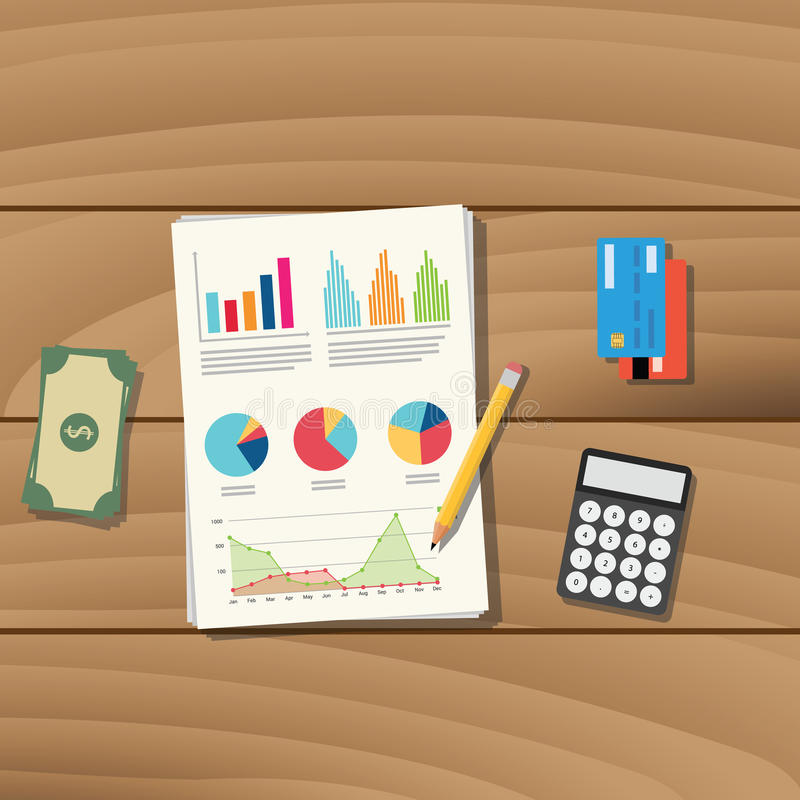 Lavoro del documento cartaceo di affari di contabilità con il grafico di vettore dei soldi e del calcolatore della carta di credi illustrazione vettoriale