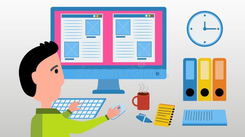Lavoro del progettista di web sul computer illustrazione di stock