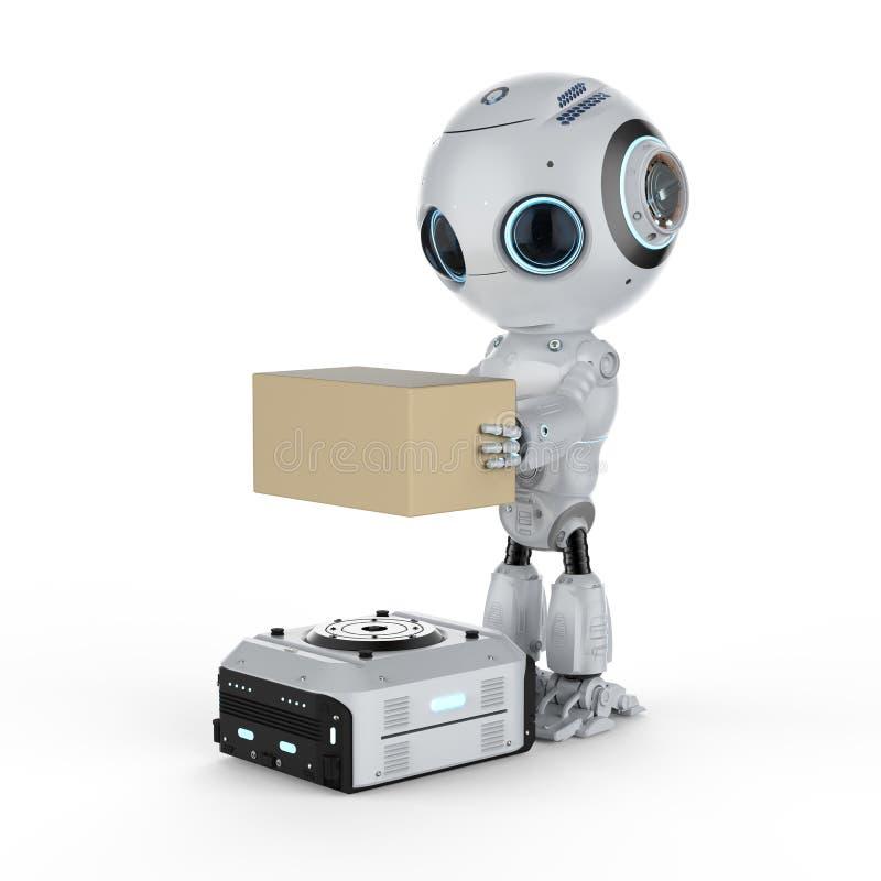 Lavoro del robot del magazzino illustrazione vettoriale