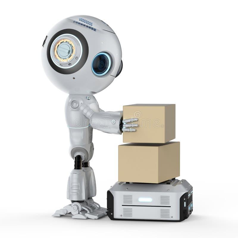 Lavoro del robot del magazzino illustrazione di stock