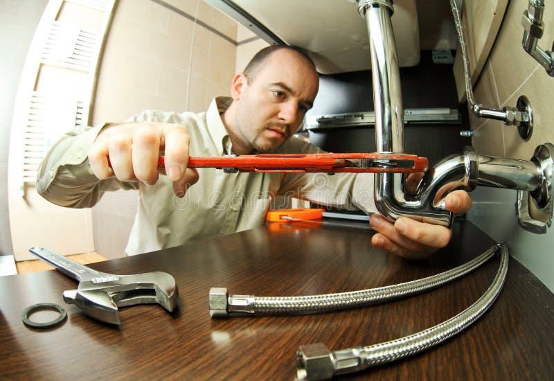Lavoro dell'idraulico l'AT fotografia stock libera da diritti