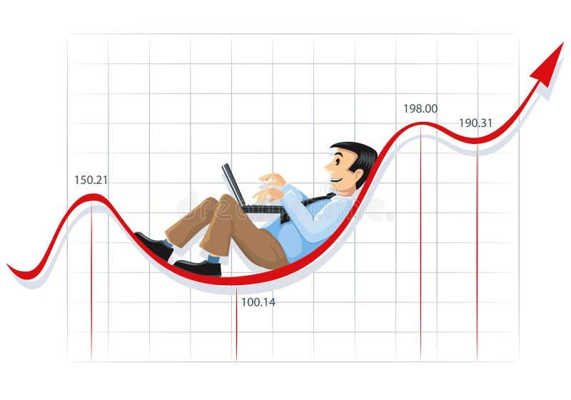 Lavoro dell'uomo d'affari sulla riga di diagramma illustrazione di stock