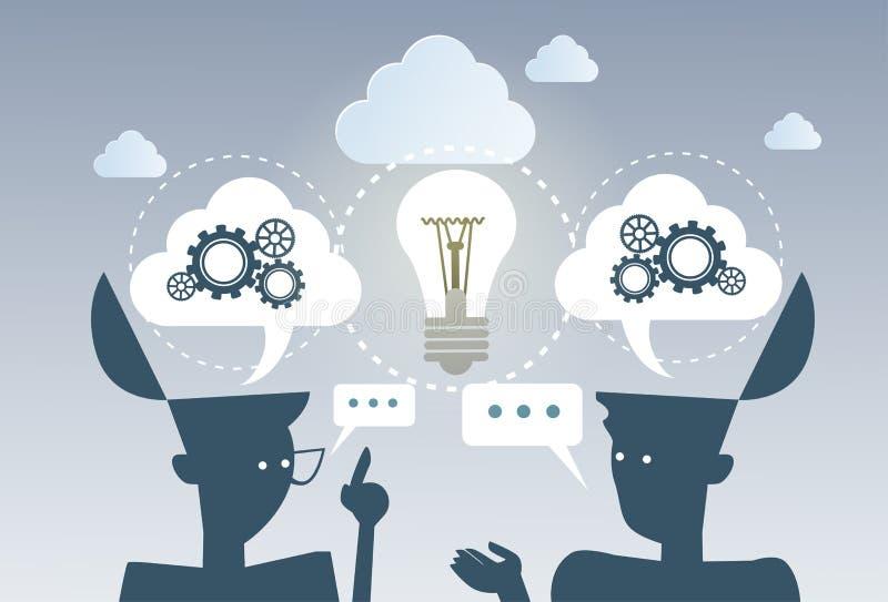 Lavoro della ruota del dente di idea di processo di 'brainstorming' di affari il nuovo proietta insieme il concetto di strategia illustrazione di stock