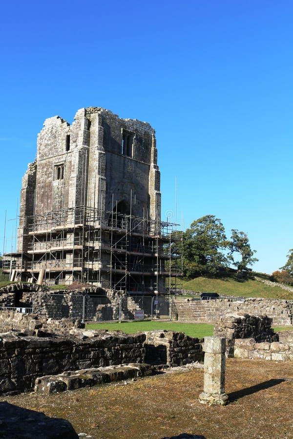 Lavoro di conservazione all'abbazia di Shap, Cumbria, Inghilterra fotografia stock libera da diritti
