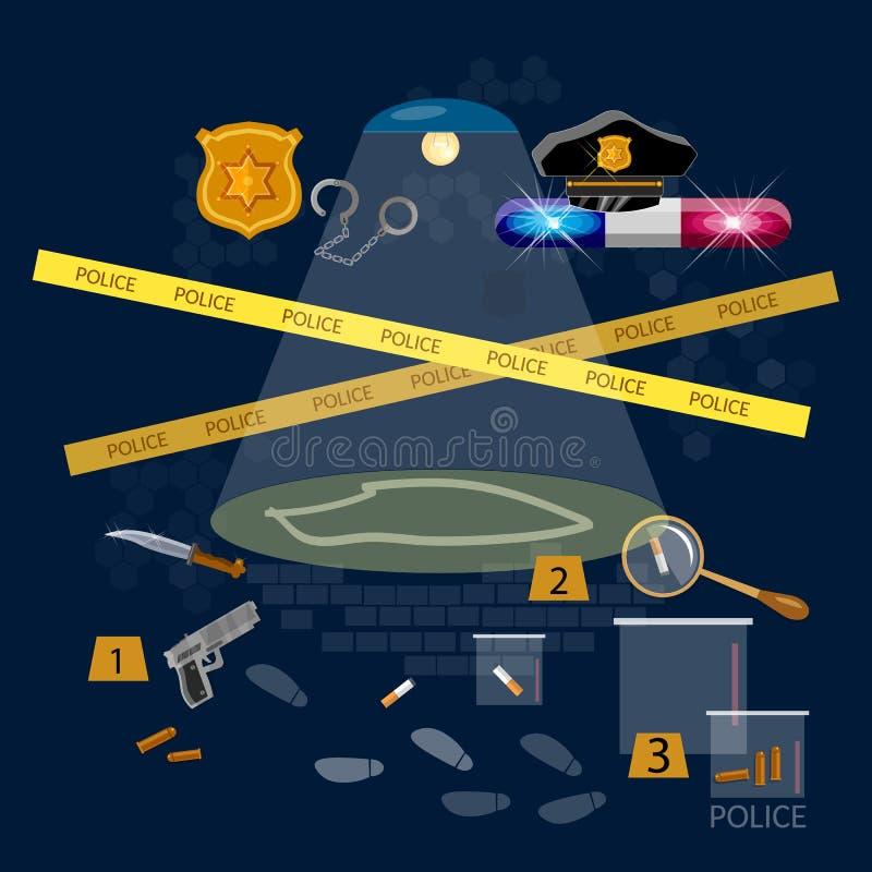 Lavoro di detective criminale di ricerca della scena del crimine illustrazione di stock