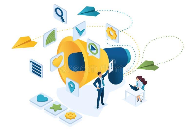 Lavoro di gruppo e marcare a caldo commercializzante isometrico, tabellone per le affissioni ed annuncio, strategie di marketing  illustrazione di stock