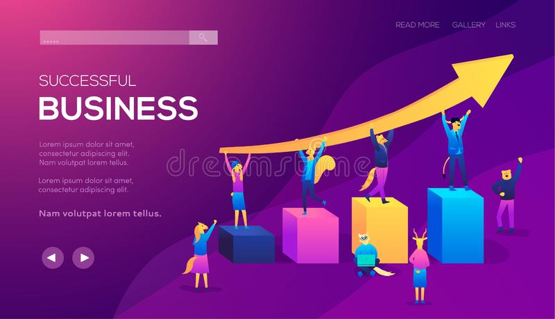 Lavoro di squadra che conduce la società al concetto dell'illustrazione di successo illustrazione vettoriale