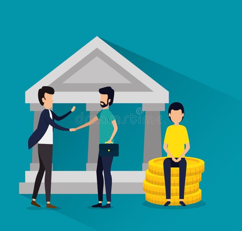 Lavoro di squadra degli uomini con le monete di affari e della cartella illustrazione vettoriale