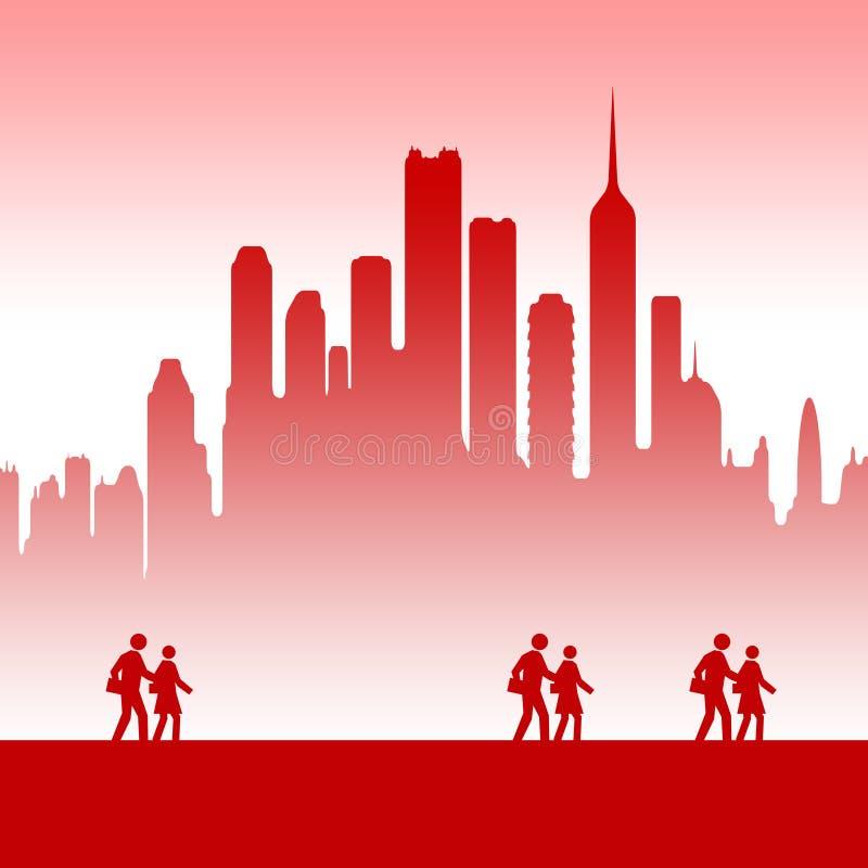 Lavoro di squadra della città illustrazione vettoriale