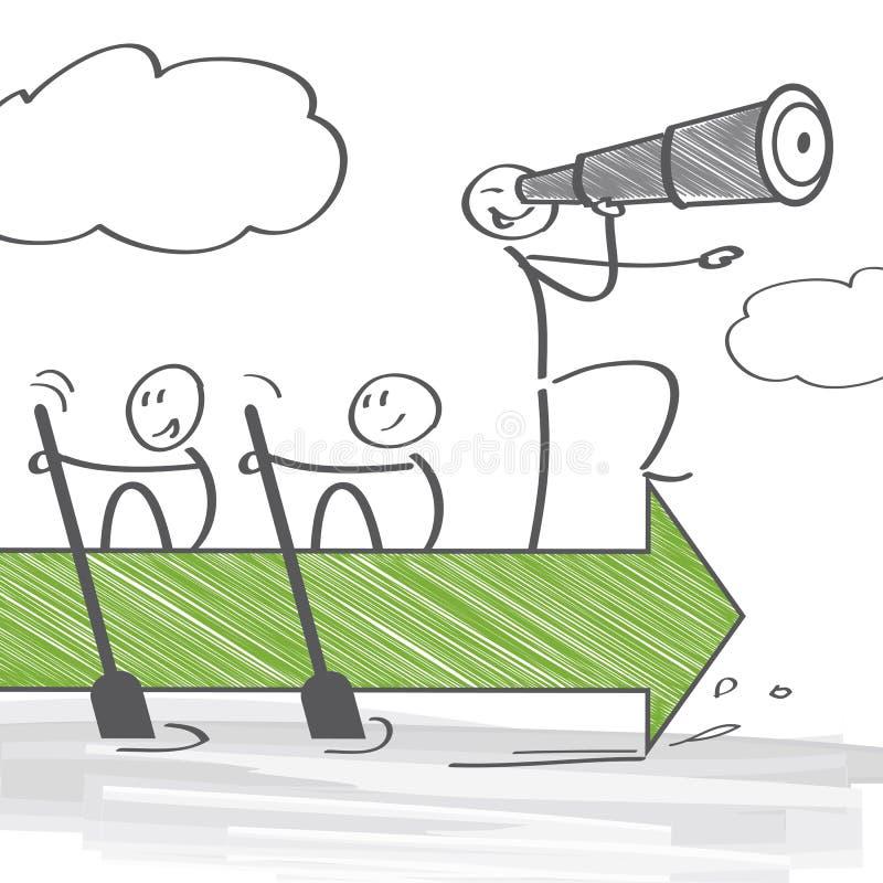 Lavoro di squadra e direzione illustrazione di stock