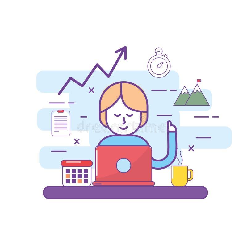 Lavoro di squadra e donna con tecnologia di mezzi d'informazione del computer portatile illustrazione di stock