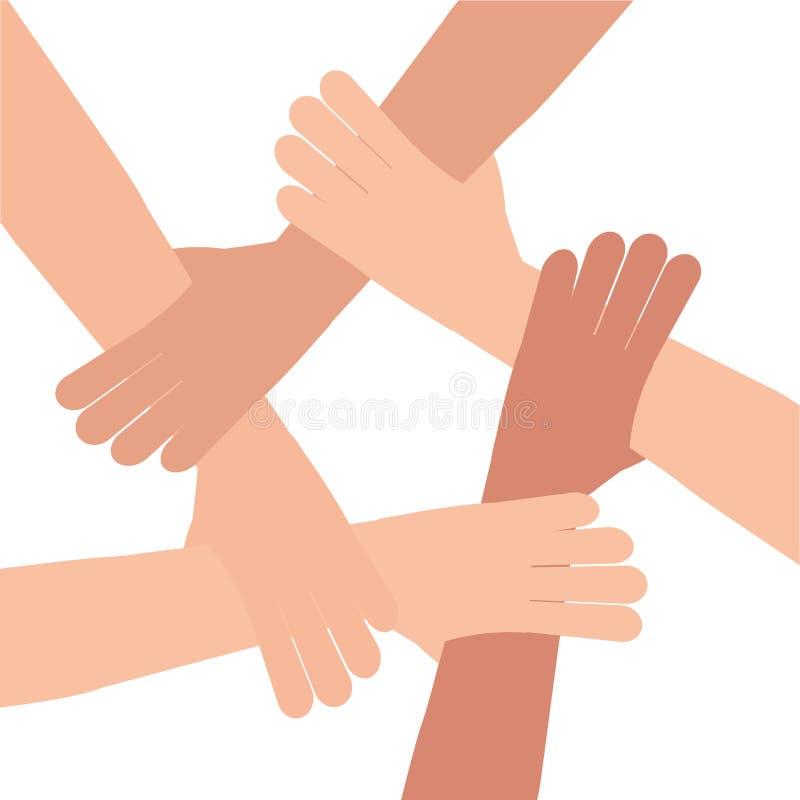 Lavoro di squadra umano del collegamento della mano illustrazione di stock