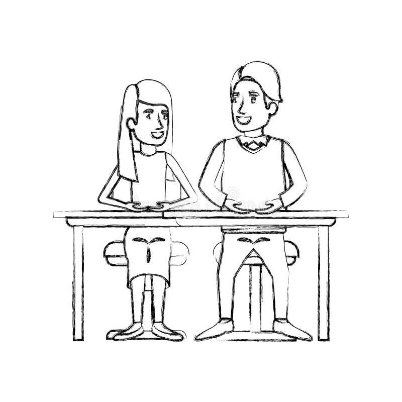 Lavoro di squadra vago della siluetta della donna ed uomo che si siedono in scrittorio e lei con capelli lunghi e diritti e lui i illustrazione vettoriale