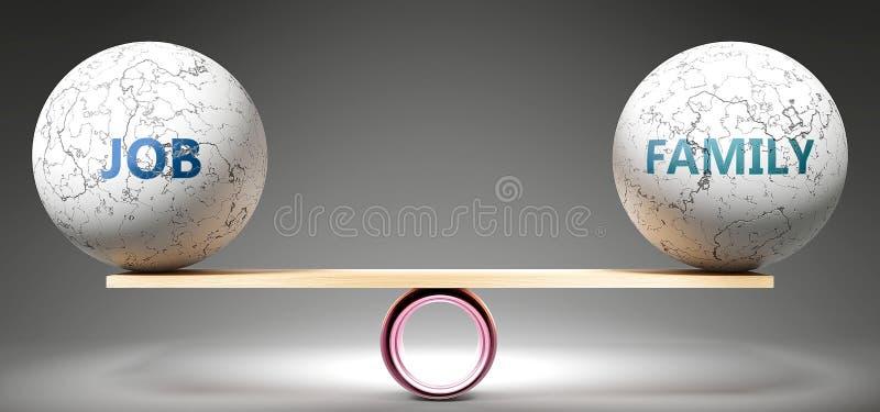 Lavoro e famiglia in equilibrio - nella foto, come palle equilibrate su scala che simboleggiano l'armonia e l'equità tra lavoro e illustrazione vettoriale