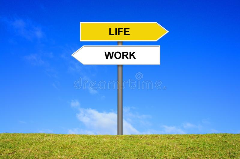 Lavoro e vita di rappresentazione del cartello fotografie stock