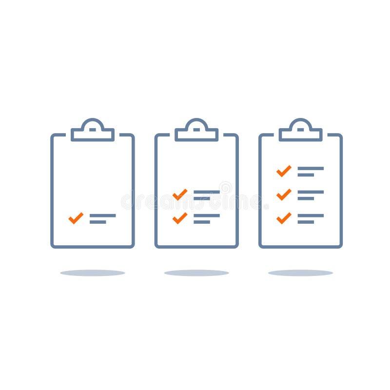 Lavoro efficiente, piano di progetto, lista di controllo della gestione di compito, progresso veloce, livello sul concetto, breve royalty illustrazione gratis
