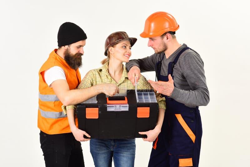 Lavoro occupato Gruppo lavorante professionale Gruppo dei muratori Costruzione gli ingegneri o degli architetti costruzione fotografie stock libere da diritti