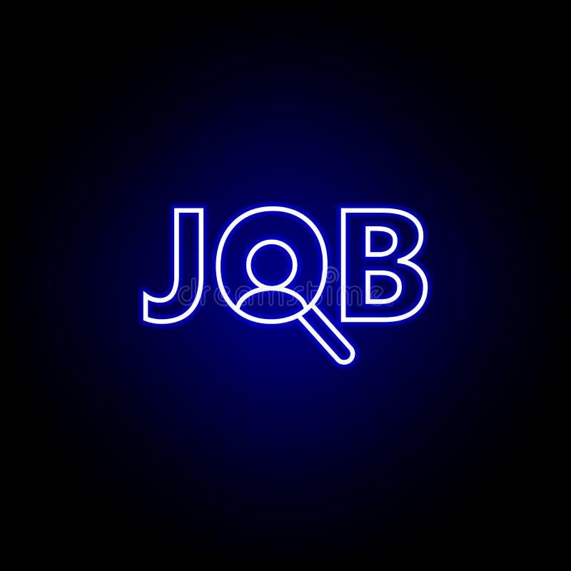 Lavoro, offerta di l$voro, icona della lente Elementi dell'illustrazione delle risorse umane nell'icona al neon di stile I segni  royalty illustrazione gratis
