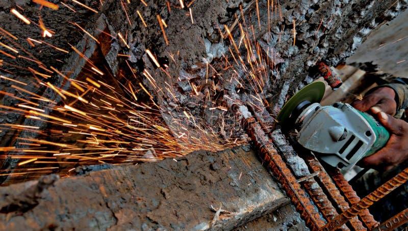 Lavoro Surat, India della costruzione di edifici fotografia stock