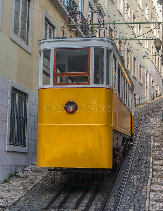 Lavra Funicular or Elevador, Lisbon, Portugal stock photography