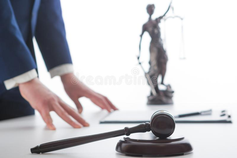 Law, advice and Legal services concept. Lawyer and attorney having team meeting at law firm. Law, advice and Legal services concept. Lawyer and attorney having royalty free stock image