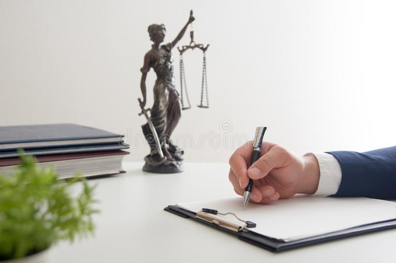 Law, advice and Legal services concept. Lawyer and attorney having team meeting at law firm. stock photography