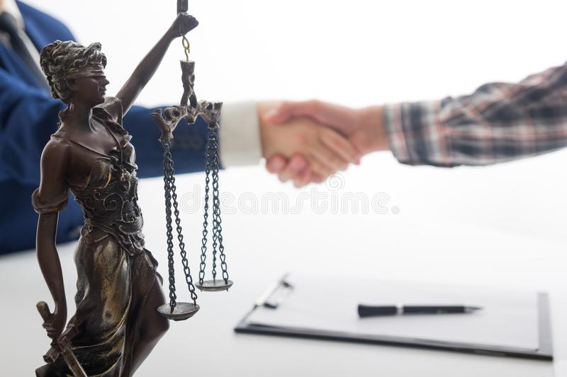 Law, advice and Legal services concept. Lawyer and attorney having team meeting at law firm. Law, advice and Legal services concept. Lawyer and attorney having royalty free stock photography