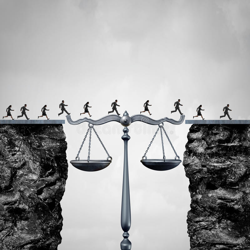 Law And Attorney Solution. Concept as a group of lawyers or corporate businessmen and businesswomen crossing two cliffs with the help of a justice scale acting royalty free illustration
