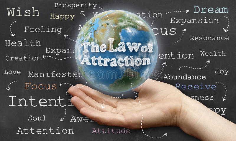 Law of Attraction. Holding the World with The Law of Attraction royalty free illustration
