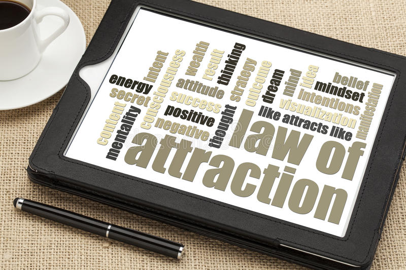 Law of attraction word cloud stock photos