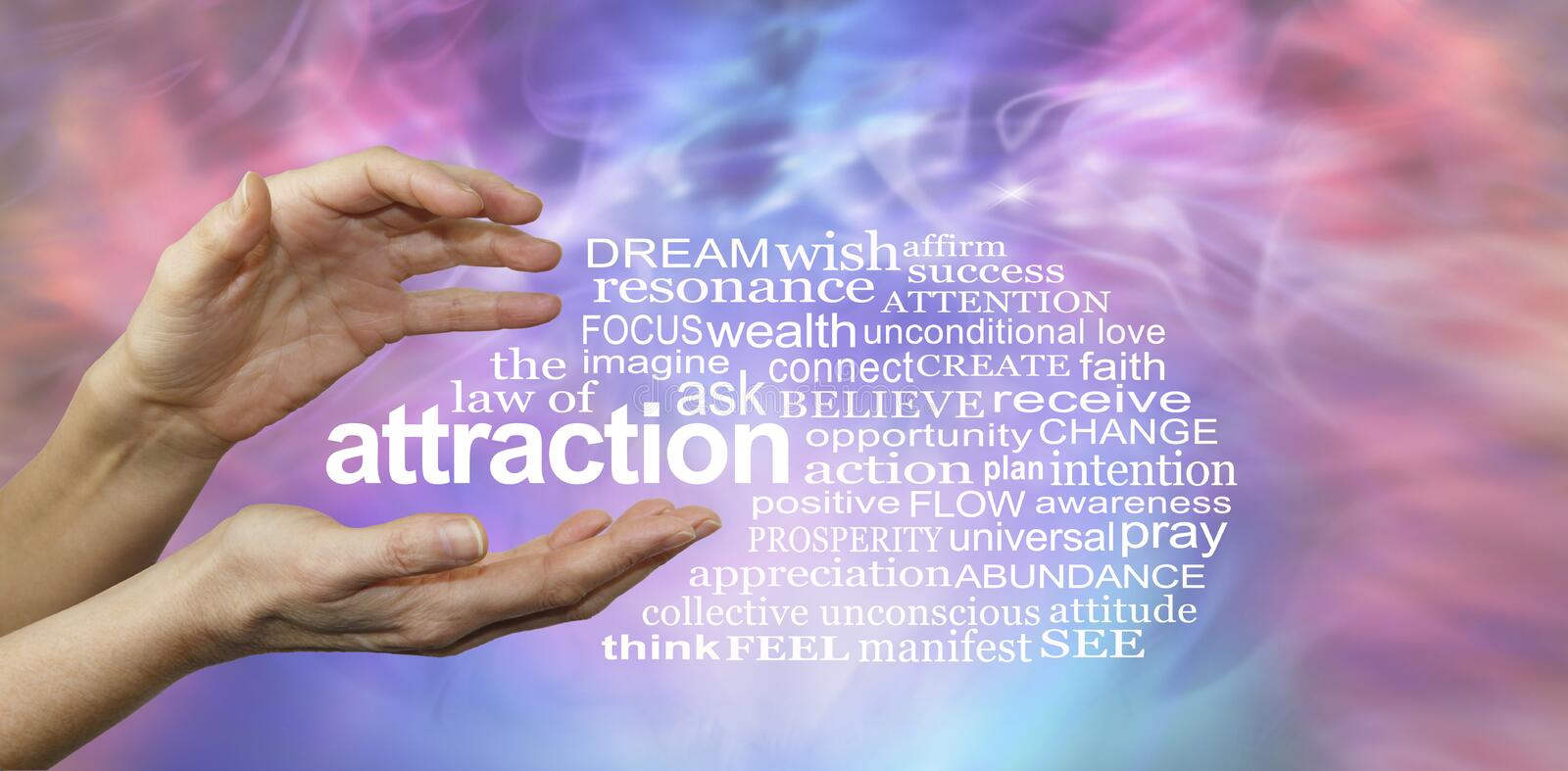 The Law of Attraction Word Cloud. Female hands with the word ATTRACTION floating between surrounded by a relevant word cloud on a pink and blue misty wispy royalty free stock photos