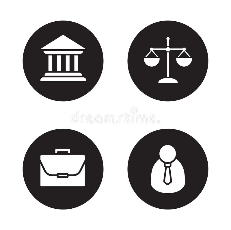 Law black icons set vector illustration