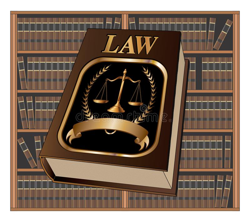 Law Book Seal and Library. Is an illustration of a law book used by lawyers and judges with a scale of justice seal and blank banner for your text with a vector illustration