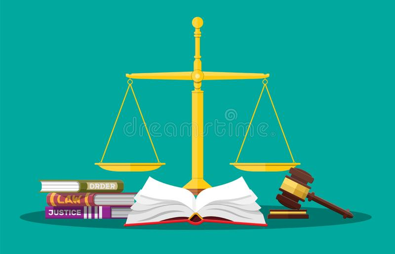 Law code books, justice scales and judge gavel. Law judgment punishment order justice. Wooden hammer. Legal and legislation authority. Vector illustration in vector illustration